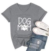 Women Dog Mom T-Shirt Dog Lover Shirts Short Sleeve Cute Funny Letter Print Shirt Top