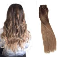 """Clip in Hair Extensions 20"""" 100% Brazilian Human Hair Clip in 8 Pcs 160g Per Set Mixed Ombre Medium Brown with Medium Golden and Strawberry Blonde Highlight for Full Head Soft"""
