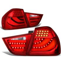 Replacement for 09-11 BMW 323i/325i/328i/335d E90 LCI 4Dr Sedan Pair 3D LED Bar Tail Light/Brake Lamps (Red)