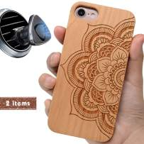 iProductsUS Sunflower Phone Case Compatible with iPhone 8, 7, 6/6S and Magnetic Mount, Wooden Cases Engraved Mandala Flower Built in Metal Plate, TPU Rubber Shockproof Protective Cover (4.7 inch)