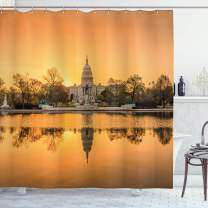"""Ambesonne United States Shower Curtain, Washington DC American Capital City White House Above The Lake Landscape, Cloth Fabric Bathroom Decor Set with Hooks, 70"""" Long, Apricot Ginger"""