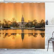 "Ambesonne United States Shower Curtain, Washington DC American Capital City White House Above The Lake Landscape, Cloth Fabric Bathroom Decor Set with Hooks, 70"" Long, Apricot Ginger"