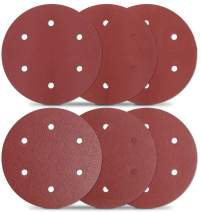 TACKLIFE 30 Pcs Drywall Sander Sanding Discs 9 Inch 6 Hole Hook and Loop, 5 Pcs Each 80, 100,120, 180, 240, 320 Grits ASD5A
