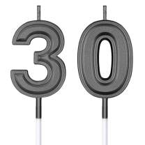 30th Birthday Candles Cake Numeral Candles Happy Birthday Cake Candles Topper Decoration for Birthday Wedding Anniversary Celebration Supplies (Black)