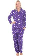 Alexander Del Rossa Women's Warm Flannel Pajama Set, Long Winter Christmas Button Down Cotton Pjs