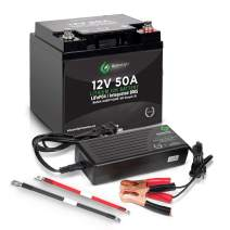 Lithium-ion Deep Cycle Rechargeable Battery – 12v 50Ah IP54 Extreme Weather Resistant – up to 5,000 Cycle Long-Life – for Marine, Trolling Motors, RV, Off-Grid and Solar – Includes Charger & Cables