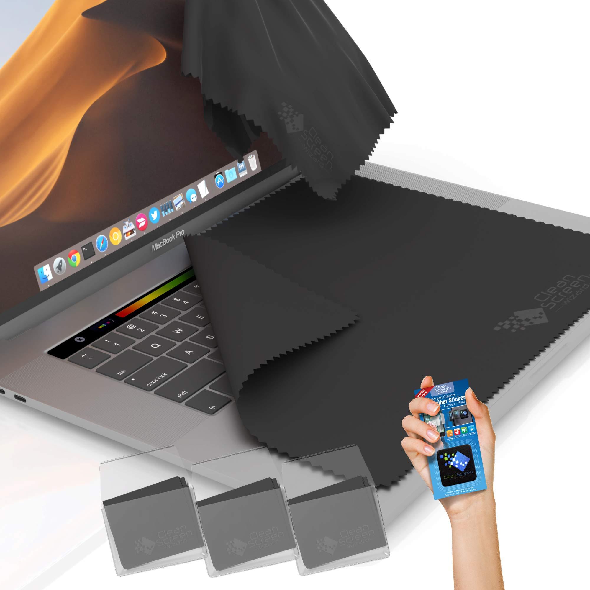 CLEAN SCREEN WIZARD Microfiber Screen Keyboard Cleaner Keyboard Screen Protector, XL Cloths Keyboard Covers/Screen Imprint Protection and Microfiber Sticker for 15 inch, 16 inch MacBook Pro Laptops
