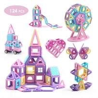 VIXA Magnetic Blocks Educational Castle Building Toys Creativity Kids DIY Magnetic Tiles with Wheels Storage Box Ideal for Birthday Halloween Christmas Party Gift for Girls & Boys-124 pcs