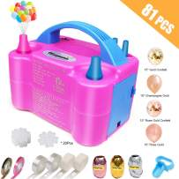 Electric Balloon Pump, Portable Dual Nozzle Blower Pump/Inflator, ETL Approved, with Balloons, Tying Tool, Flower Clips, Tape Strip, Colored Ribbon, Dot Glues for Party Decoration(Rose Red 110V 600W)