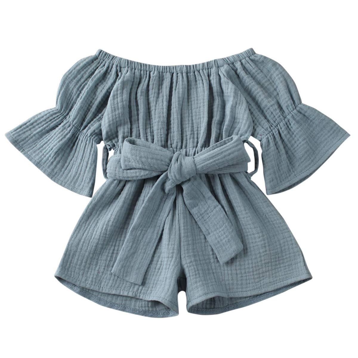 JBEELATE Toddler Baby Girl Jumpsuit Cotton Linen Summer Solid Romper Outfits Flare Sleeve Off Shoulder Clothes One Piece