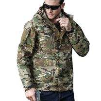 UDOIGI Men's Army Jacket Tactical Hooded Windbreaker Breathable Waterproof Outdoor Coat