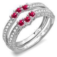 Dazzlingrock Collection 14K Round Ruby And White Diamond Ladies Anniversary Wedding Band Enhancer Guard, White Gold