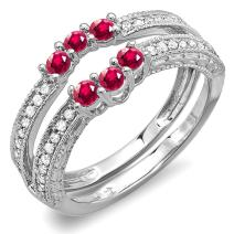 Dazzlingrock Collection 14K Round Ruby And White Diamond Ladies Anniversary Wedding Band Enhancer Guard, White Gold