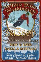 White Pass, Washington - Ski Shop Vintage Sign (36x54 Giclee Gallery Print, Wall Decor Travel Poster)