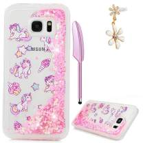 Mavis's Diary S7 Edge Case, Crystal Clear Painted 3D Quicksand Cover Bling Glitter Flowing Liquid Skin Ultra Slim Shockproof TPU Rubber for Samsung Galaxy S7 Edge with Dust Plug & Pen, Unicorn