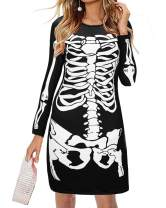 Women Halloween Dresses Skull Pumpkin Dress Long Sleeve Dress Printed Flared Party Dress for Costume
