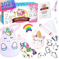 Cheffun Unicorn Baking Supplies Tool Set - Kitchen Accessories Cookie Cutters Decorating Kit Cooking White Apron Chef Toys Holiday for Kids Toddler Girls Ages 3 4 5 6 7 8 9 Years Old
