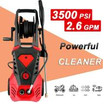 WOOKRAYS Pressure Washer 3500PSI Electric Pressure Washer- 1800W 2.6GPM Electric Power Washer with Hose Reel, 5 Nozzle Adapter and 32 ft Cables for Cleaning Cars, Houses Driveways, Patios