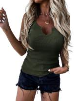 Womens Ribbed Knit Tank Tops Casual Sleeveless Cami Tops V Neck Fitted Shirts Blouse