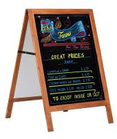 """Wood A Frame Sidewalk Sign Poster Display Advertising, Double Sided, with Black Chalk Board, 23-3/5"""" x 31-1/2"""" Write able Area"""