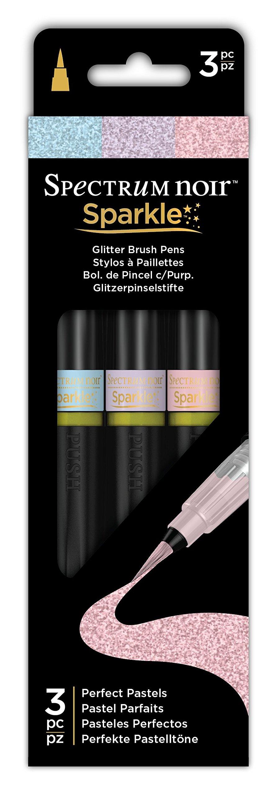 Spectrum Noir SPECN-SPA-PAST3 Sparkle Fine Glitter Brush Pens Set, Perfect Pastels, Pack of 3