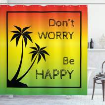 """Ambesonne Rasta Shower Curtain, Dont Worry Be Happy Music Words of Iconic Singer Palms Ombre Colors, Cloth Fabric Bathroom Decor Set with Hooks, 84"""" Long Extra, Lime Green"""