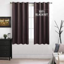 MIULEE 100% Blackout Curtains Thermal Insulated Solid Grommet Curtains/Drapes/Shades for Bedroom Living Room 2 Panels Chocolate 52x63 Inch