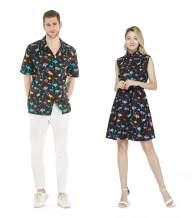 Couple Matching Hawaiian Luau Cruise Outfit Shirt Dress Flamingo in Love
