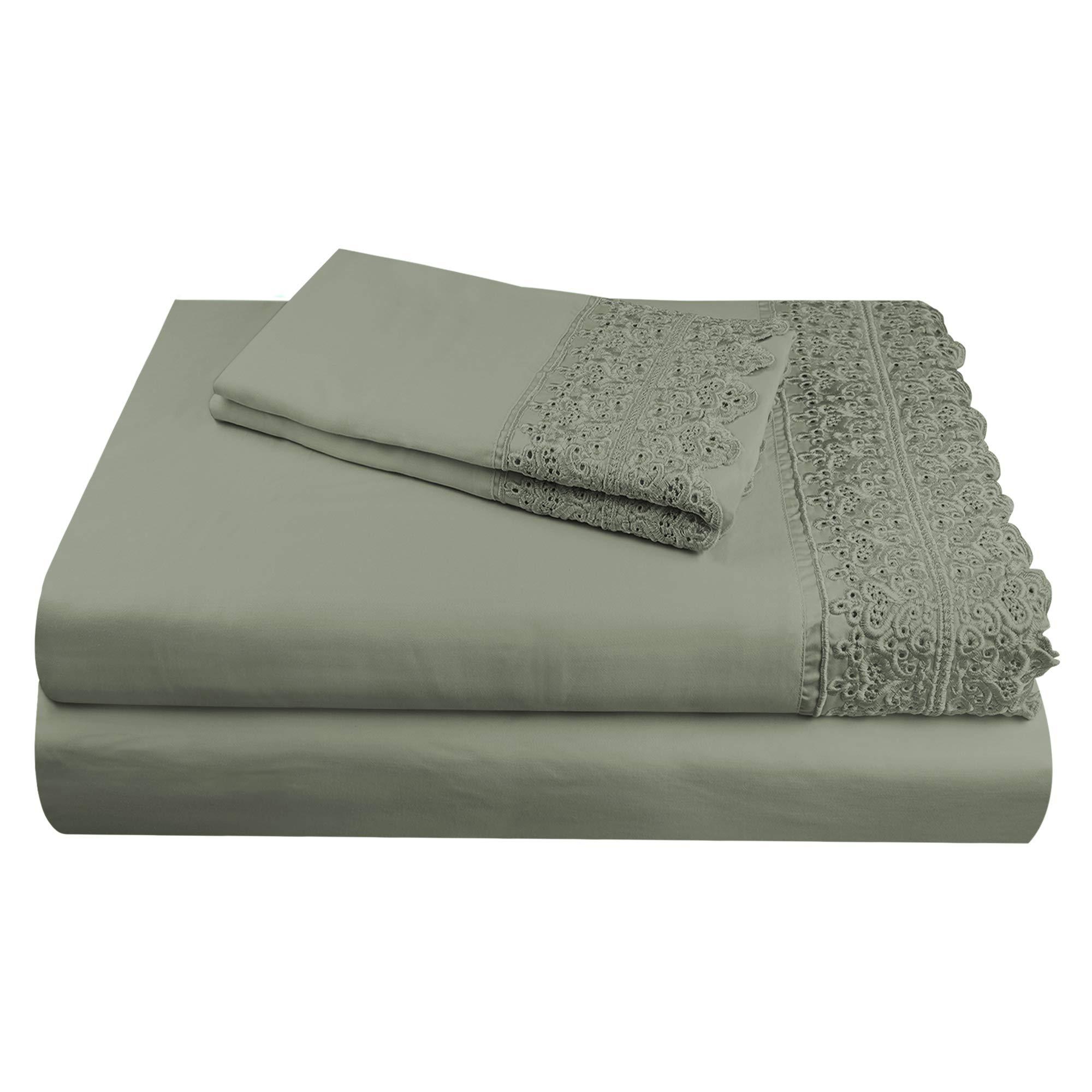 "AURAA Smart 1400 Thread Count Cotton Rich, 4 Piece Sheet Set, Queen Sheets, 16"" Deep Pocket, Artemis Lace Hem, Smooth & Soft Sateen Weave, Hotel Quality, Charcoal"