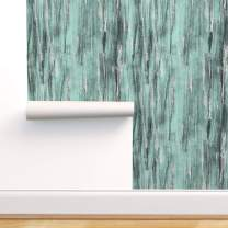 Spoonflower Peel and Stick Removable Wallpaper, Texture Silver Jade Teal Mint Mod Print, Self-Adhesive Wallpaper 24in x 108in Roll