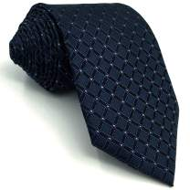 S&W SHLAX&WING Tie Sets for Men Navy Blue Checkered Classic Long