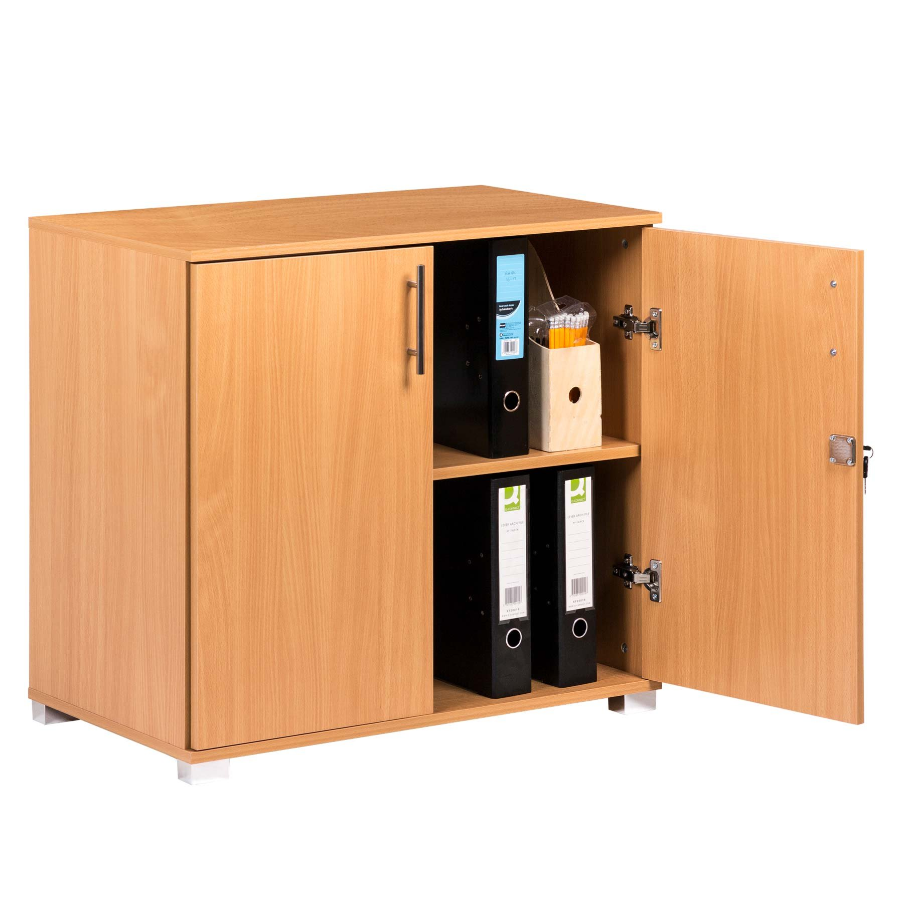 """Beech Storage Cabinet 2 Door Locking Cupboard Bookcase Desktop Height 28.9"""" Tall - Desk Extension in Beech Effect Wood Laminate - Home or Commercial Office use"""