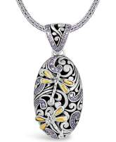 DEVATA Sweet Dragonfly Signature Sterling Silver 925 Necklace with 18K Gold Accents CZ Purple SFD8569AM