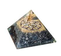 YATHABI Black Tourmaline Gemstone Orgone Pyramid with Om Symbol for Energy Generator Cleansing Reiki Healing Chakra Balancing Emf Protection Spiritual Decor Size: 3-3.5 Inch Approx