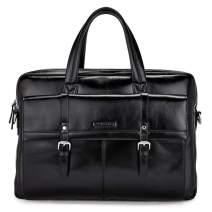 BOSTANTEN Leather Briefcase 15.6 inch Laptop Shoulder Bag Messenger Business Bag for Men & Women Black