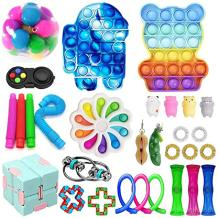 Set of 30 Sensory Fidget Toys, Sensory Fidget Pack Relieves Stress Anxiety for Kids, Fidget Pack with Simple Dimple on It, Tie Dye Push Pop Bubble Toy and More (D-30 Piece Set)