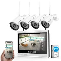Wireless Security Camera System with Monitor,Hornbill 1080P 8 Channel Video Security System with 12 Inch Monitor,1TB Hard Drive,4PCS 1.3MP Indoor Outdoor IP Security Camera with Night Vision Free APP