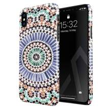 BURGA Phone Case Compatible with iPhone X iPhone Xs - Pastel Illusion Moroccan Marrakesh Tile Pattern Colorful Mosaic Cute Case for Women Thin Design Durable Hard Plastic Protective Case
