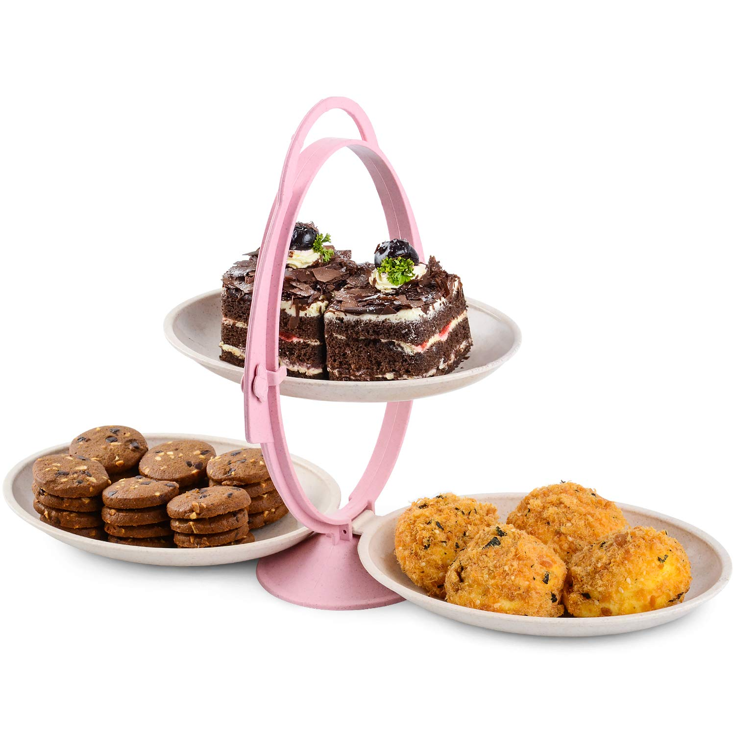Cupcake Stand Dessert Plates,WorldBackyard Wheat Straw 2-Tier 3 Serving Tray Display Tower for Kids Birthday Tea Party Baby Shower with Handle on Top.
