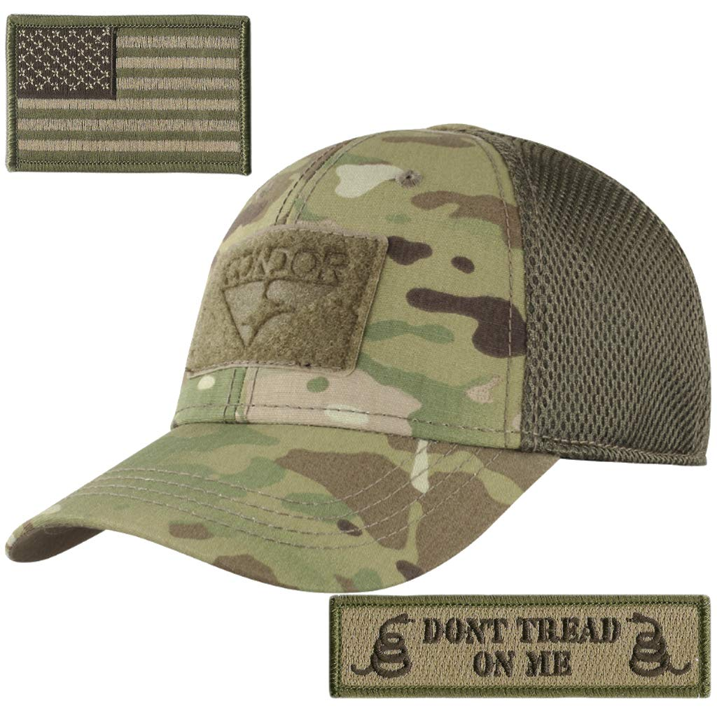 Condor Mesh Fitted Tactical Cap Bundle (USA/DTOM Patches)