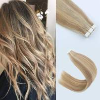 """Lovrio 20"""" 20 Pcs 50g Tape in Human Hair Piano Color Skin Weft Bronde Mixed with Warm Golden Blonde and Beach Blonde/Bleach Blonde Color P10-16-613 Hair Extensions With Adhensive Tape"""