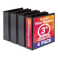 Samsill Economy 3 Ring Binder Organizer, 3 Inch Round Ring Binder, Customizable Clear View Cover, Black Bulk Binder 4 Pack