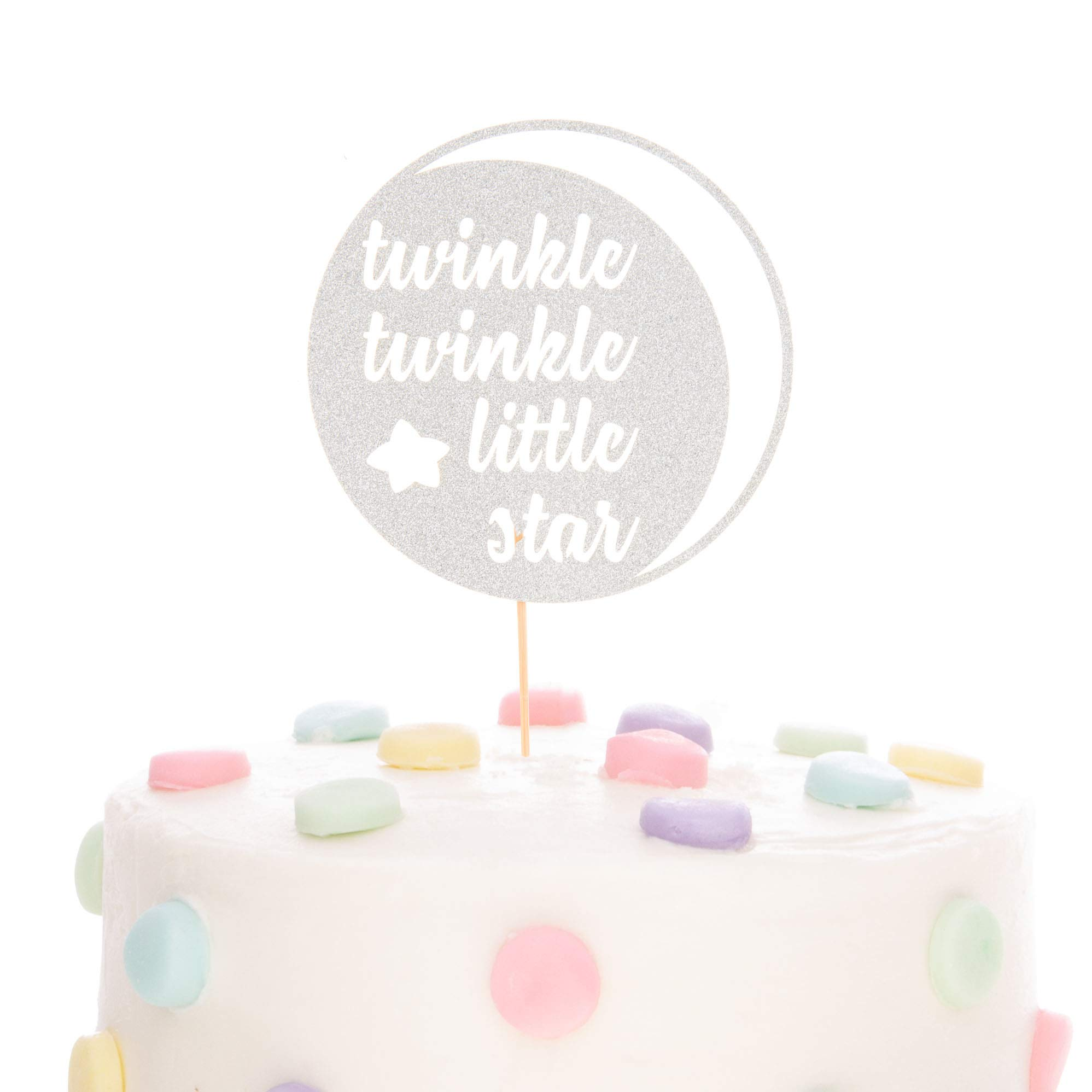 Ella Celebration Twinkle Twinkle Little Star Cake Topper Glitter Double Sided Cardstock Paperboard Toppers Baby Shower Gender Reveal Photo Props Paper Decoration for 1st Birthday (Twinkle Moon Silver)