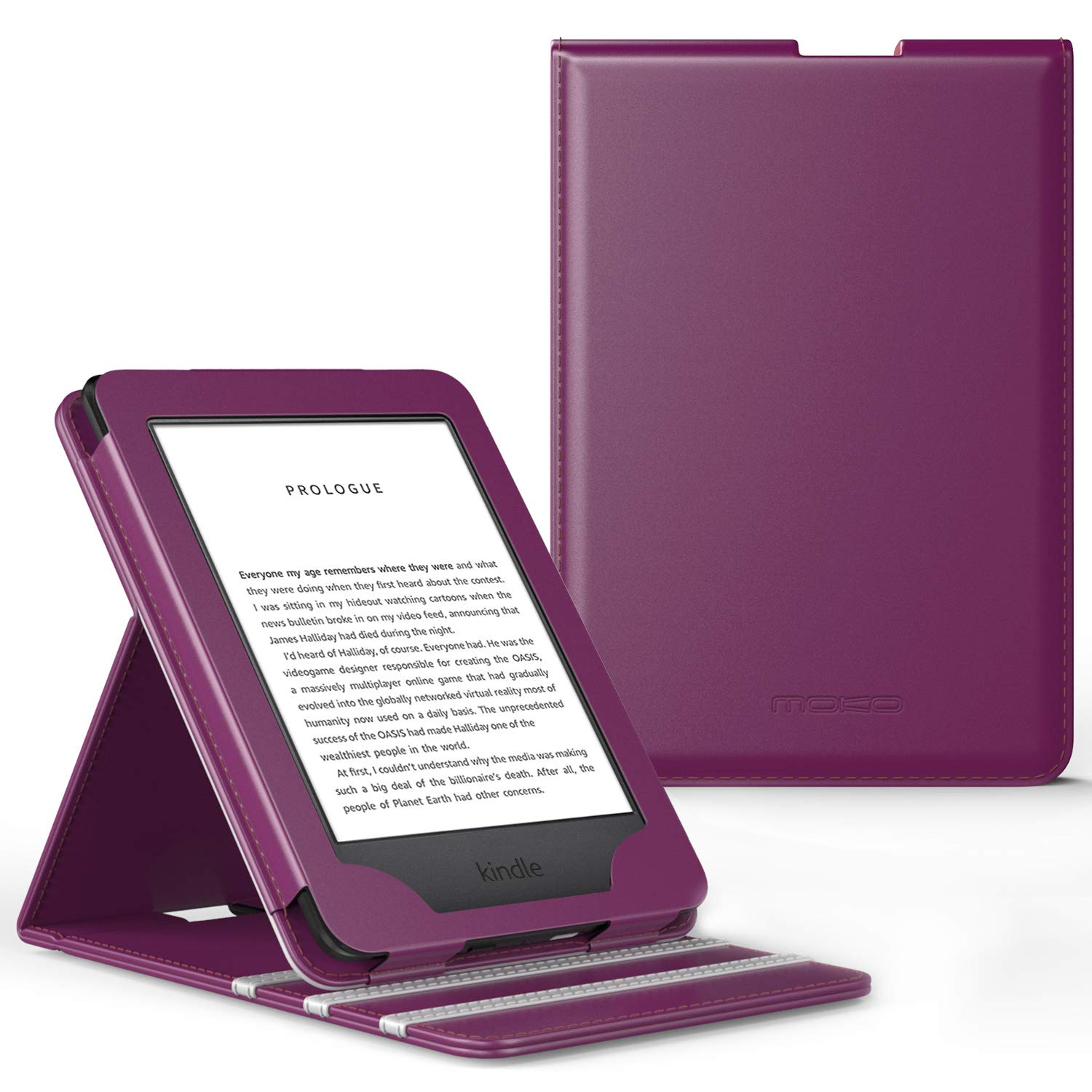 MoKo Case Fits All-New Kindle (10th Generation - 2019 Release Only), Vertical Flip Protective Cover with Auto Wake/Sleep, Will Not Fit Kindle Paperwhite 10th Generation 2018 - Purple