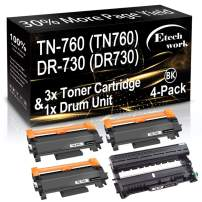 (4-Pack, 3X Toner + 1x Drum Unit) Compatible TN760 Toner Cartridge TN-760 and DR730 Drum Unit DR-730 Used for Brother HL-L2390DW L2350DW L2370DW MFC-L2710DW DCP-L2550DW Printer, by Etechwork