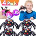 4 Pack Stress Balls Christmas Party Favors for Kids, Black Spider Mesh Grape Squeeze Ball Christmas Stocking Stuffers School Prizes Light Up Toys for Kids ADHD Holiday Christmas Gift(With 4 Gift Bags)