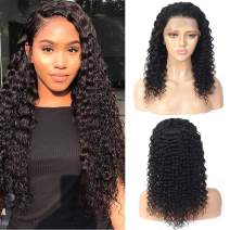 Deep Wave Lace Front Wigs Human Hair Wigs with Baby Hair 100% Unprocessed Lace Frontal Wigs Pre Plucked Wet and Wavy Human Hair Wig Nautual Color(14inch wig)