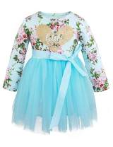 Toddler Baby Girl Outfits Little Sister Dress Long Sleeve Tulle Floral Vintage Dresses