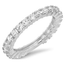 Clara Pucci 1.0 CT Round Cut Classic Designer Solitaire CZ Pave Set Band Ring 14kt White Gold
