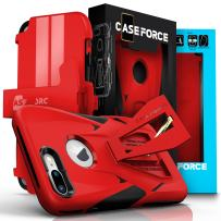 CASE FORCE iPhone 7 Plus Case, Velocity Series, World's First High Velocity Impact Resistance Case, Built-in Kickstand Plus Swivel Belt Clip Holster Plus Screen Protector - Red/Black